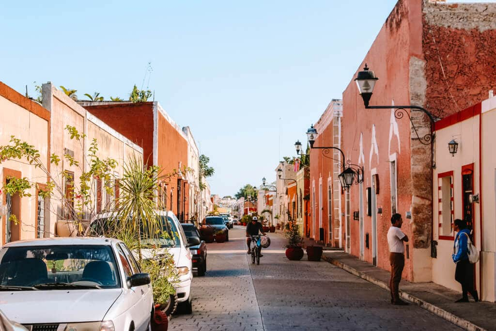 A pretty pastel street in Valladolid, Mexico - One of the best places in Mexico to visit