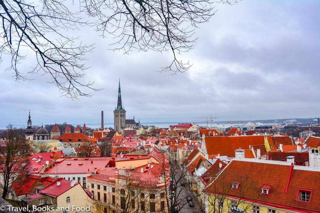 A view of Tallinn, Estonia from above with lots of orange roof tops and a cathedral in the distance as part of 2019 in review