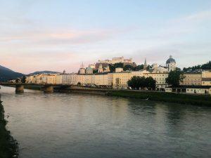 The city of Salzburg alongside the river
