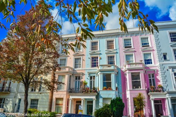 A street with colourful houses in Notting Hill in London