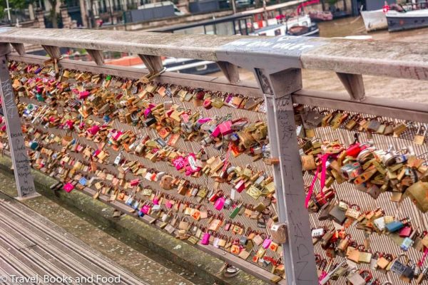 A bridge full of love locks in Paris, France