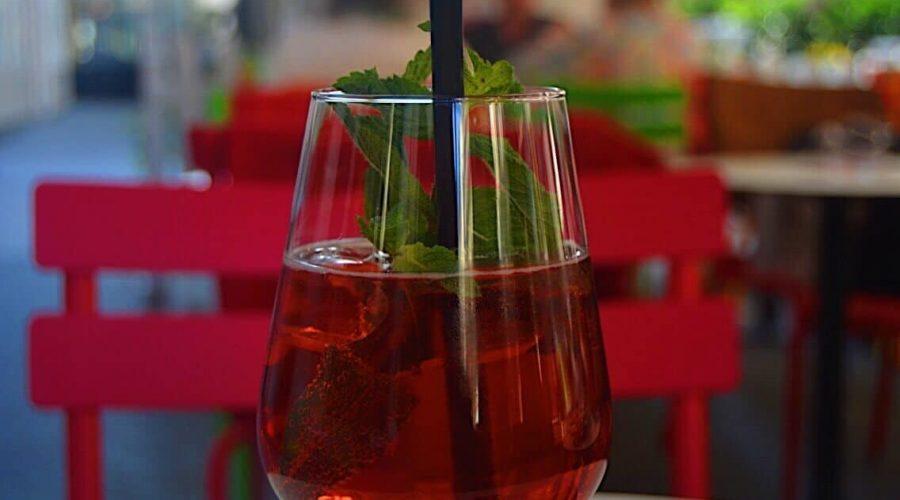 Red wine spritzer in Vienna